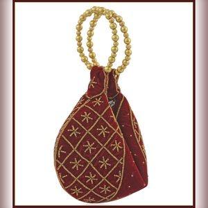 Handbags - NEW Satin Beaded Fortune Cookie Handbag Purse Boho